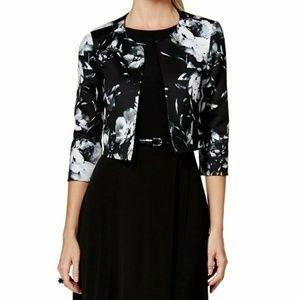 Jessica Howard White Floral Crop Blazer Jacket Top